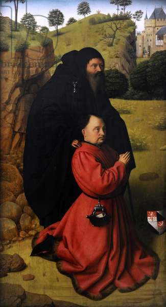 Altar panel with a portrait of a donor in scarlet under the protection of St. Anthony, c.1450 (oil on panel)