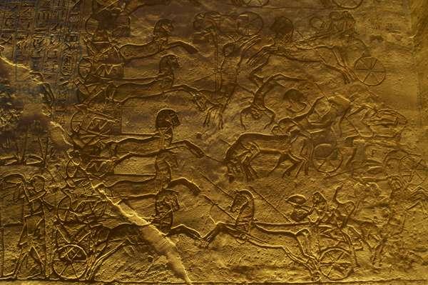 Egyptian art. Great Temple of Ramses II. Military campaign against the Hittites. Battle of Kadesh. Abu Simbel. Egypt.