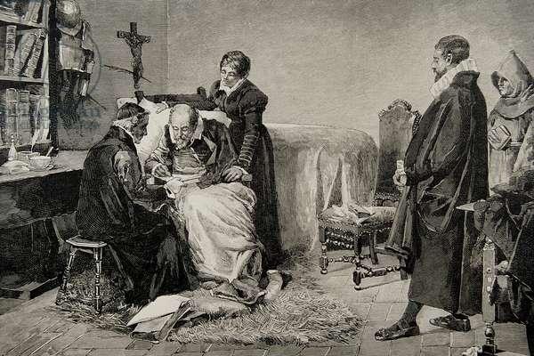 Miguel de Cervantes (1547-1616)  writing the dedication of his Persiles. Engraving.