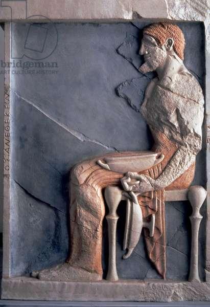 Greek art. Funerary stele depicting a potter. Early 6th century B.C.