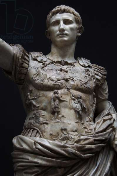 Augustus, (63 B.C.-14 D.C.). First emperor of the Roman Empire. Augustus of Prima Porta. White marble statue. 1st century. Detail of the breastplate. Vatican Museum.