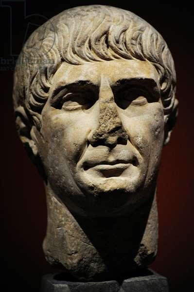 Roman bust of emperor Trajan (53-117) of the decennalia type, c.103-117