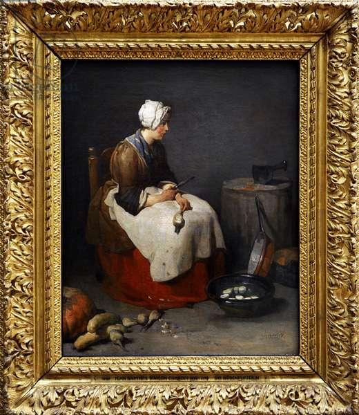 Woman peeling turnips, ca. 1740, by Jean Baptiste Simeon Chardin (1699-1779).