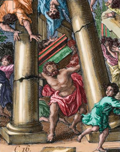 Samson destroying the temple of Dagon
