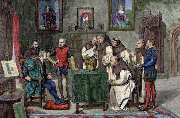 Charles I of Spain (1500-1558) at Yuste, Engraving. Colored.