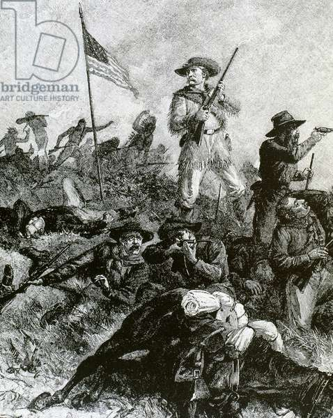 George Armstrong Custer (1839-1876) in the Battle of the Little Bighorn where he died (engraving)