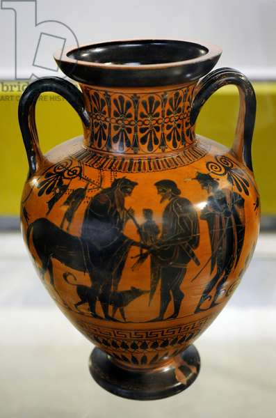 Chiron extending his right hand to Peleus, with the infant Achilles, followed by Hermes, Amphora made in Athens, Antimenes Painter, 520 BC