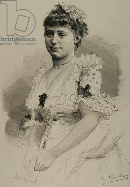Maria Heilbronn (19th century). French comic opera singer. Engraving.
