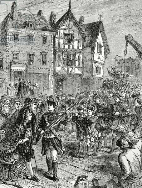 American Revolutionary War (1775-1783). Boston. Citizens hostile with the British soldiers (engraving)