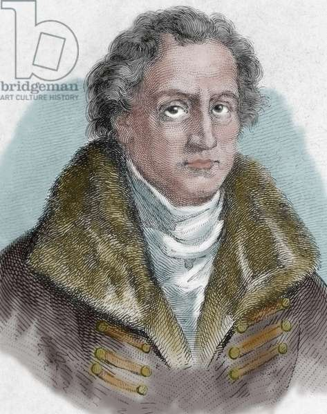 Johann Wolfgang von Goethe (1749-1832). German writer (colour engraving)