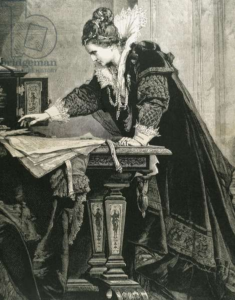 Elizabeth I (1533-1603) of england decrees the death of Mary Stuart, Queen of Scots by Thiele (engraving)