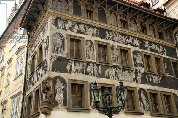 Czech Republic. Prague. The House at the Minute (Dum u Minuty). Old Town Square. It's a high-Renaissance house, adorned with a sgraffito facade. Built at late 15th century.