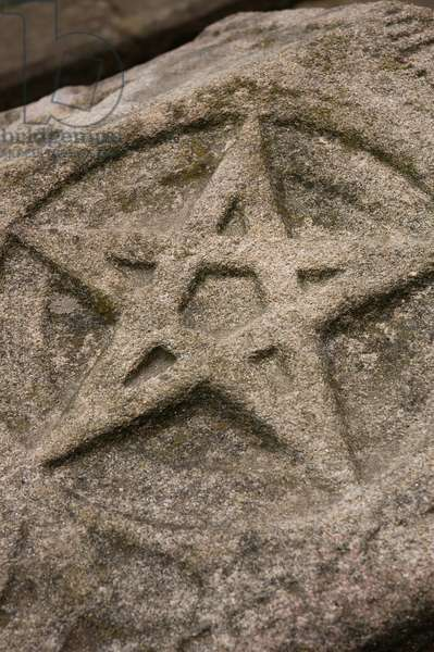 Funerary relief. Pentagram. Stone dated in 1284. Barcelos. Portugal.