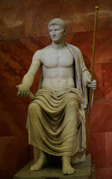 Emperor Augustus (63 BC-14 AD) as Jupiter. First half of the 1st century AD. Statue. Marble.