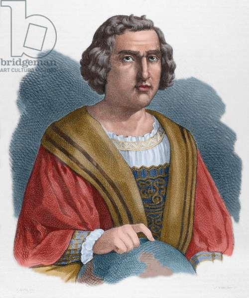 Christopher Columbus (1451-1506). Portrait. coloured engraving.