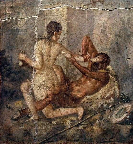 Hermaphroditus and satyr, Roman fresco, From Pompeii, Italy 1st century AD