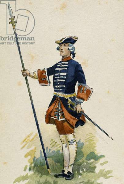 France, 18th century, French guard of the king Louis XV.