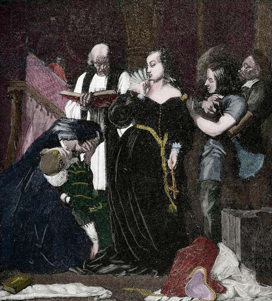 Mary, Queen of Scots (1542-1587). Queen of Scotland and Queen consort of France. Execution of the quuen, 1885 (colour engraving)