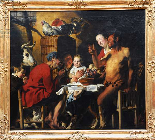 Jacob Jordaens (1593 – 1678). Flemish Baroque painter. The Satyr and the Peasant. 1620-1621.