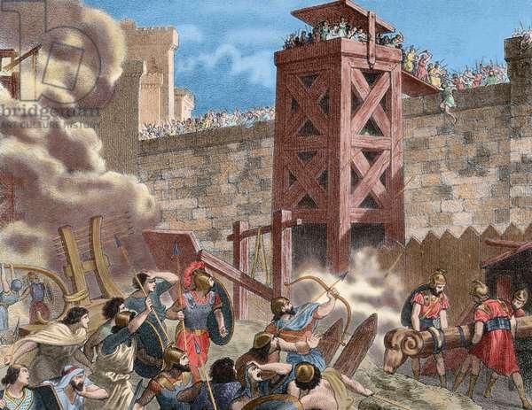 The Siege of Saguntum (219 B.C.) (colour engraving)