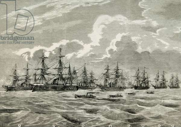 War of the Pacific.1879-1883. Conflict between Chile and Peru and Bolivia, Chilean navy (engraving)