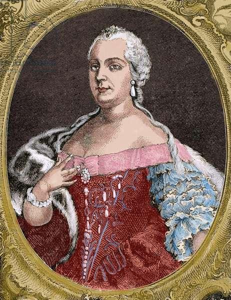 Queen Maria Theresa of Austria (1717-1780). Engraving, 1882 (colour engraving)