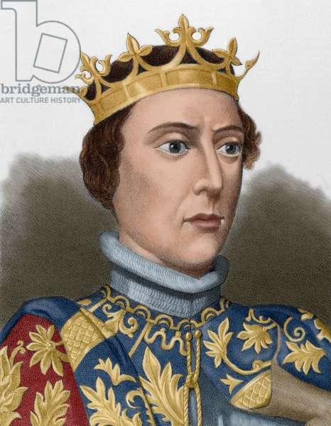 Portrait of Peter I of Castile (coloured engraving)