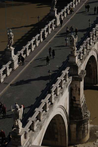 Italy. Rome. Saint Angelo Bridge (1668-1671). Aerial view.