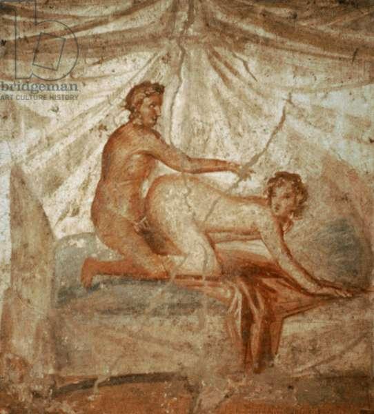 """Roman fresco, Sex scene """"more ferarum"""", Coming from a private building, 50-79 AD, Pompeii, Italy"""