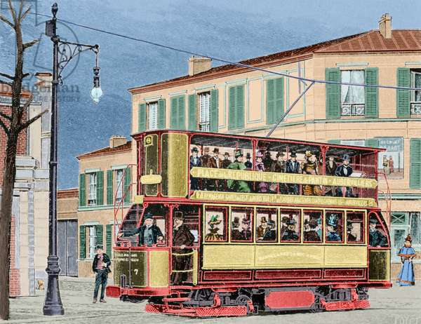 Electric tram. colourd (engraving)