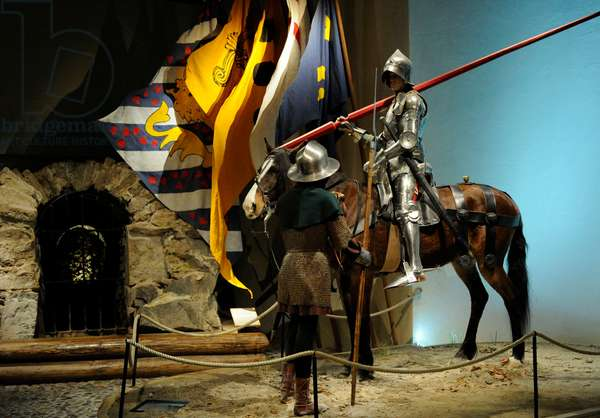 Swedish army, Middle Ages, Figures showing a soldier on horseback and one on foot heading for the Battle of Brunkeberg (1471)