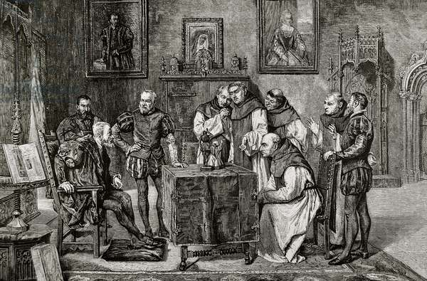 Charles I of Spain (1500-1558) at Yuste, Engraving.