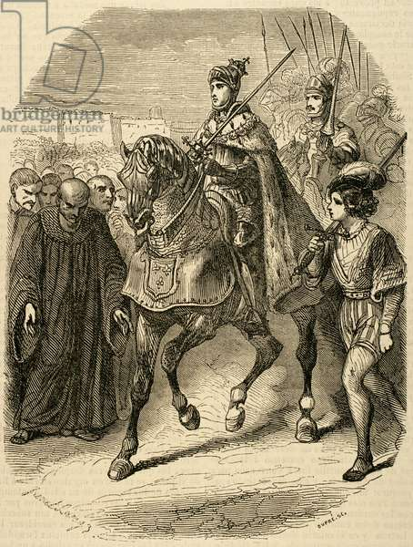 Louis XII (1462-1515)  King of France entering the city of Genoa. Engraving, 1851.