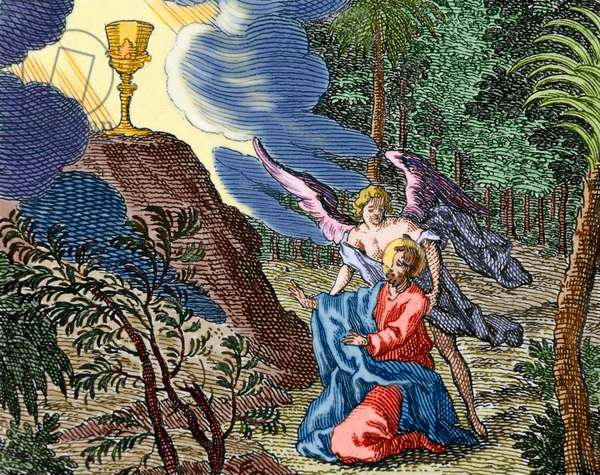 Jesus praying in the Garden of Gethsemane. An angel appears to comfort him (colour engraving)