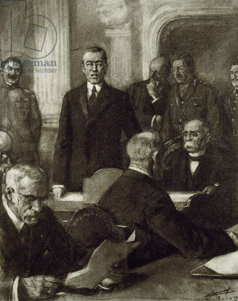 France, Paris Peace Conference, 1919,Thomas Woodrow Wilson (1856-1924) presenting George Clemenceau (1841-1929) as permanent head of the Conference (engraving)