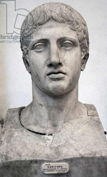 Doryphoros of Polykleitos, Greek statue, Classical era, C, 440 BC, Roman copy, Head