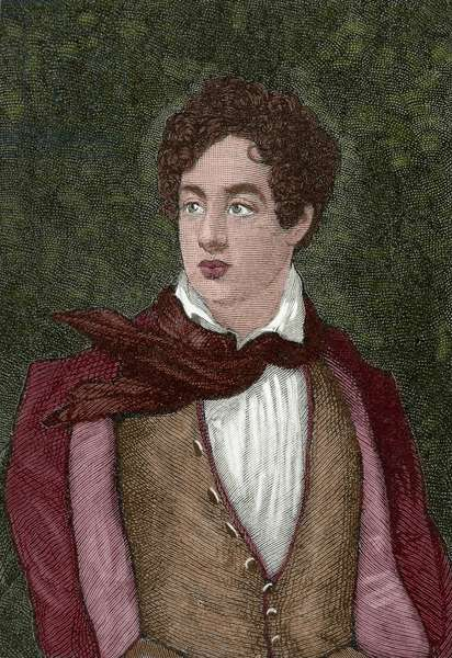 Lord Byron (1788-1824) (coloured engraving)