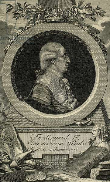 Ferdinand I of the Two Sicilies (1751-1825). Third son of King Charles III of Spain. Engraving by Cremer.