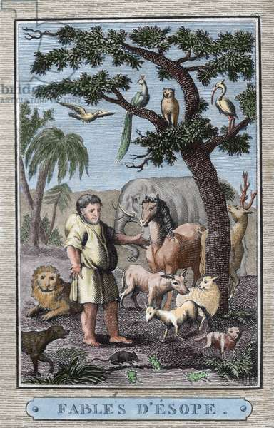 Aesop (c. 620–564 BC). Ancient Greek fabulist.  Aesop's Fables. French edition, Paris, 1801. Colored.