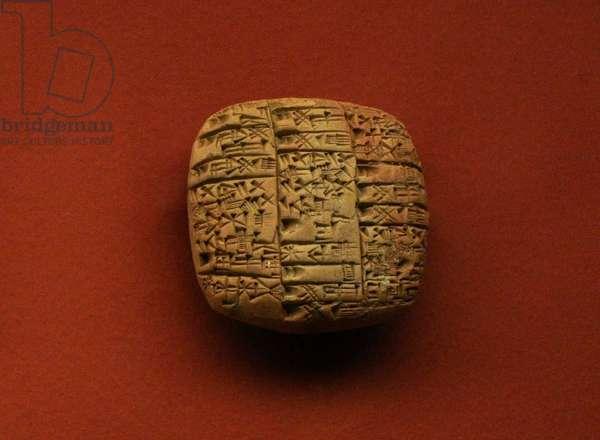 Mesopotamia. Clay tablet. Offerings food to the gods Ningirsu and Bau. Festival of Bau.