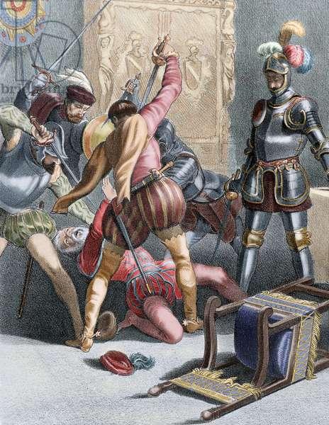 Francisco Pizarro (1478-1541). Spanish conqueror. Pizarro's murder by followers of Diego de Almagro (June 26, 1541). Colored Engraving. 19th century.