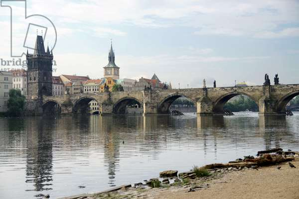 Czech Republic. Prague. View of Charles Bridge and Vltrava river.