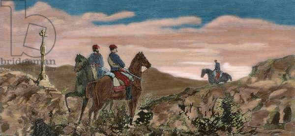 Spain. Third Carlist War (1872-1876). Alava. Salvatierra. Arricruz site. Two Carlist horsemen (colour engraving)