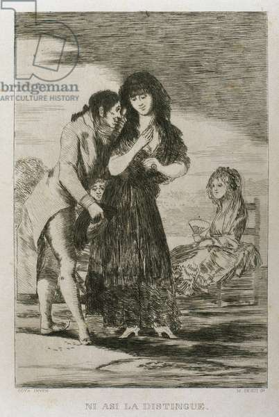 Francisco Goya (1746-1828). Caprices. Plaque 7. Event thus he cannot make her out.