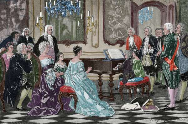 Maria Anna (Nannerl) and Wolfgang Amadeus playing  before the Empress Maria Theresa (1717-1780), Vienna, 1762 (coloured engraving)