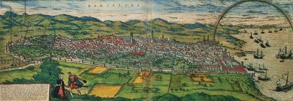 """Spain. Catalonia. Barcelona. Map, 1576 at """"Civitates Orbis Terrarum"""""""