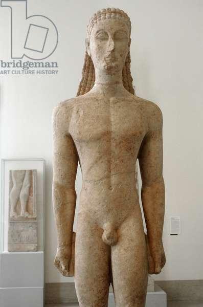 Greek art. Archaic Age. Greece. 6th century B.C. Kouros. Marble. 590-580 BC.