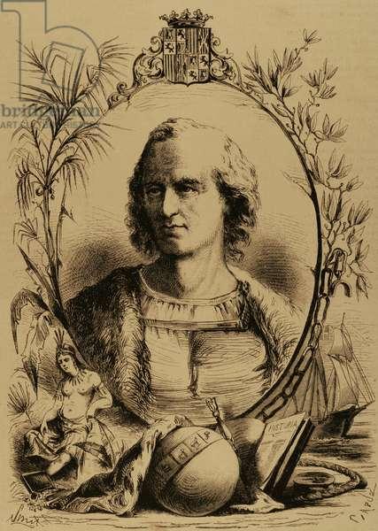Christopher Columbus (1451-1506). Engraving.