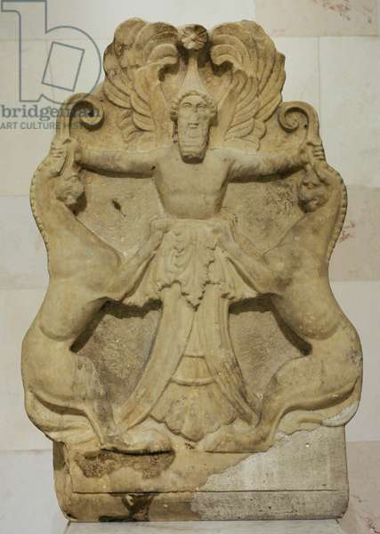 Greek art. Acroterium with a relief depicting Arimaspian (winged-deity) holding griffins by their horns. 3rd century BC. Marble.