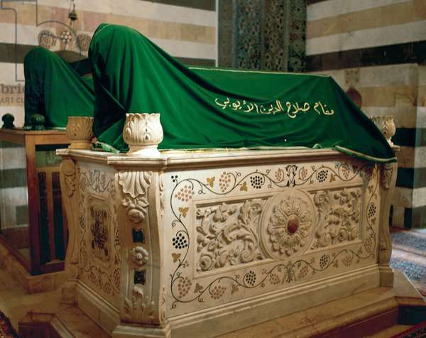 Mausoleum of Saladin (1138-1193). First, marble coffin (empty) next to a wooden tomb that holds Saladin's body. Damascus. Syria.